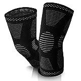 KIMENGO ® Kniebandage - Kniebandagen mit 4fach-Kompression [2 STK] – schweißabsorbierend – atmungsaktives Gewebe – rutschfester Bund – [4] verschiedene Größen (XL)