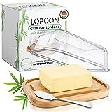 LOPOON® Butterdose Glas mit Gratis Messer I 100% Plastikfrei - Butter Dish Geeignet für 250g Butter I Moderne Butterdose Bambus mit Glas Deckel I Butterbehälter ein Optimales Geschenk I Butterbox