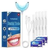Zahnaufhellung led, 5 Zahnbleaching gel und 3 White Stripes, iFanze Teeth whitening Kit für weiße Zähne Zuhause