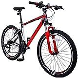 KRON XC-100 Hardtail Aluminium Mountainbike 26 Zoll, 21 Gang Shimano Kettenschaltung mit V-Bremse | 16 Zoll Rahmen MTB Erwachsenen- und Jugendfahrrad | Schwarz & Rot