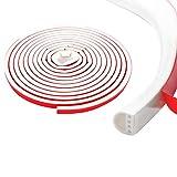 Qishare Dichtungsstreifen für Türen Fenster, Mehrloch Design selbstklebende Anti Kollisions Schalldichten Wasserdicht Staubdicht Winddicht Silikon Fensterdichtung Türsiegel 9x6mm, 6M (Weiß)