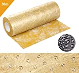 Anstore Vlies Tischband Tischläufer Flower Vlies Hochzeit Kommunion 23cm/30m Rolle (Gold)