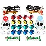 EG STARTS klassischen Arcade-DIY Kit Parts 2X USB LED-Encoder um PC-Konsole Spiele + 2X 4/8 Wege Joystick + 20x 5V Leuchttaster für Mame Raspberry Pi (Rot / Blau-Stick + Mix Farbtasten)