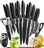 Edelstahl Scharfes Messerset Mit Messer Block - 17 Stücke Profi Küchenmesser Set mit Anspitzer - Koch Messer Set 6 Steak Messer Schäler Schere Käse Pizza Messer - Chef Knife Kitchen Knife Set