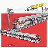 Xolye Legierung Track Zug Modell Kinder 4-Sektion-Kombination Spielzeug-Zug Set Spielzeug U-Bahn-Zug High-Speed-Schiene Kinder-pädagogisches Spielzeug für Kinder-Geburtstagsgeschenk (Color : Rot)