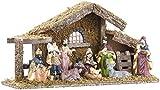 Britesta Krippe: Hochwertige Holz-Weihnachtskrippe, große handbemalte Porzellan-Figuren (Krippe mit handbemalten Figuren)