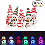 8 Packs Christmas Night Light, Snowman Shaped Multicolored LED Decoration Light LED Light UP Wearing with Hat