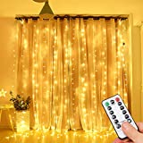 Opard LED Lichtervorhang 300LEDs, Lichterkettenvorhang 3M*3M IP65 Wasserfest 8 Modi Lichterkette Warmweiß für Party Schlafzimmer Innen und außen Deko (3X3M)