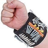 Rovtop extra starken Magnetisches Armband mit 15 kraftvollen Magneten verstellbares Klettband Magnetarmband zum Halten von Werkzeug/Schrauben/Bohrer/Nägel
