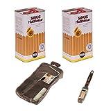 2x 5Liter SINUS Holzlasur Ebenholz Set Werkzeug Holzschutzlasur Holz Lasur Außen