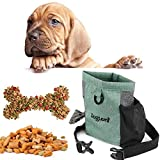 Hotgirlhot Magnetfunktion Futterbeutel für Hunde,Hunde Leckerlitasche Snack Bag mit Clip & Verfügbares Tasche Schultergurt für Hundetraining und Ausbildung,18 * 19CM/7 * 7.4 Zoll (Grün)