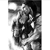 Leinwand Druck Plakat Schwarz-Weiß-Indianer Figur Leinwand Malerei Poster Und Drucke Skandinavischen Wandkunst Bild Für Wohnzimmer