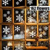 Sinwind 162 Schneeflocken Fensterbild, Fensterbilder Weihnachten Selbstklebend, Winter-deko Weinachts Dekoration, Weihnachten Fenstersticker, Winter Deko Weihnachtsdeko