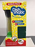 Dishmatic Ersatz Bonus Pack 1 Befüllbare Griff Und 6 Bürstenköpfe Grün Schwamm Refills
