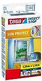 tesa Insect Stop SUN PROTECT Fliegengitter Fenster - Insektenschutz mit Blend- & Sonnenschutz - Fliegen Netz ohne Bohren - Anthrazit, 130 cm x 150 cm