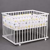 Laufgitter Babylaufgitter Laufstall 100x75cm Komplettset Babylaufstall WEISS 46500W-D01