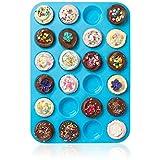 Großes Mini-Muffin-Silikonblech, für 24Muffins, Antihafteffekt, hitzebeständig bis 232°C, spülmaschinenfest, mikrowellengeeignet,Blau