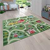 Paco Home Kinder-Teppich Für Kinderzimmer, Spiel-Teppich Mit Landschaft und Pferden, In Grün, Grösse:140x200 cm