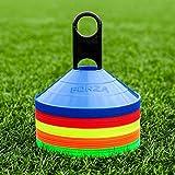 FORZA Markierungshütchen (50 Stück) – Multi-Sportarten Training Markierungsteller und Halter (Mehrfärbige)