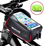 SGODDE Fahrrad Rahmentasche Wasserdicht Farhrradlenkertasche Handyhalterung Handytasche Oberrohrtasche mit Sonnenblende Kopfhörerloch Reflektierend TPU Touchscreen für Smartphone unter 6,5 Zoll