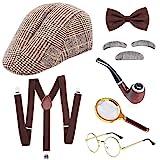 SPECOOL Sherlock Holmes Kostümzubehör Detective Zubehör Set Alter Mann Verkleidung Kostüme Herren Fasching Rockabilly Herren Hut Lupe Hosenträger Bogen Grau Bart Augenbrauen Brille
