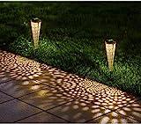 Mezone Solarleuchten 2 Stück, Solar Wegeleuchten mit Warmweiß, 2 Stück Solarlampen aus Metall für Garten, Rasen und Weg, IP65 Wasserdichte LED Lampe