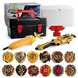 Chutoral 12 Stück Kampfkreisel Set, Neuer Kreisel mit 2 Burst Turbo Launcher,Bay Battling Tops Arena Spielzeug, Gyro Pocket Box Pro(Black)
