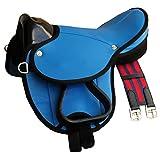 Reitsport Amesbichler AMKA Pony-Shettysattel LittleBilly, komplettes Set auch für Holzpferde - Farbe:hellblau Sattelset für Pony oder Shetty oder Holzpferde