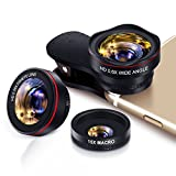 Yarrashop Handy Objektiv Set fisheye Lens - Universal 3 in 1 Clip On Fischauge Telefone Kamera Objektiv (0.28 X fisheye,0.6X 145° Weitwinkelobjektiv, 15X Makroobjektiv) for Smartphones