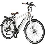 AsVIVA E-Bike 28' Trekkingrad Unisex, CityBike (14,5Ah Samsung Akku), 21 Gang Shimano Schaltung, starker 250W Heckmotor, weiß grau