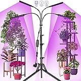 Railee Pflanzenlampe LED 96W 192 LED Grow Lampe Vollspektrum Pflanzenleuchte Pflanzenlicht mit Ständer Pflanzen LED Pflanzen Licht Wachstumslampe für Pflanzen mit Zeitschaltuhr 4 Modi 10 Lichtstärken