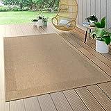Paco Home In- & Outdoor Flachgewebe Teppich Sisal Optik Natürlicher Look Einfarbig Beige, Grösse:160x230 cm