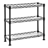 SONGMICS Gewürzregal mit 3 Ebenen, Küchen-Organizer, aus Metall, mit PP-Platten, verstellbare Regalebene, 40 x 15 x 39,5 cm, schwarz LGR025B01