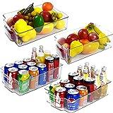 Kühlschrank Organiser Set Aufbewahrungsbox, Kühlschrank Tidy Container Boxen, großer Küchen Organizer aus Kunststoff, stapelbare Kühlschrankkorb,Gefrierschrank Space Saver,für die Küche–4 Stück