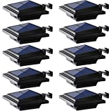 Uniquefire Weiße Solarlampe 12 LEDs Dachrinnen Außenlampe Leuchte Wandlampe Solar Kaltweiße Licht für Garten, Terrasse, Fahrtweg, Höfe, Traufen (10 STK.)