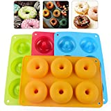 Schneespitze 4 Stück Silikon Donut Formen,Antihaft Donut Backform,Silikon Donut Formen Satz Runde Backform für Kekse, Donuts, Muffins, Kuchen