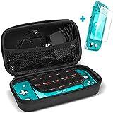 ProCase Hart Case für Nintendo Switch Lite 2019 Etui Aufbewahrungsbox Schutz-Set Tragetasche mit Displayschutzfolie Eva-Tasche Tragebox + 1 Panzerglas, Reisetasche mit 10 Kartenhaltern - Schwarz