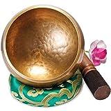 Große Original Tibetische Klangschale - 13cm. Klangschalen Set mit Klöppel und Klangschalenkissen in Loktapapier Geschenk-Box. Singing Bowl aus Tibet