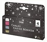 Kreul 22708 - Chalky Kreide Marker Winterset, matte, non - permanente Flüssigkreide, zum Zeichnen auf Tafeln, Memoboards oder Glasoberflächen, mit formstabiler Rundspitze ca. 2 - 3 mm, 4 Stifte