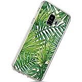 Herbests Kompatibel mit Samsung Galaxy S9 Handyhülle Transparent mit Bunt Muster Weiche Silikon Schutzhülle Durchsichtig Klar TPU Rückschale Crystal Clear Case Cover,Banane Blatt