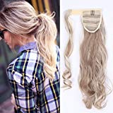Ponytail Clip in Pferdeschwanz Extension Haarteil Haarverlängerung Zopf Hair Piece gewellt Wavy wie Echthaar Sandy Blonde & Blond Bleichen Wavy-17'(43cm) 90g