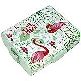 com-four Brotdose'Flamingo' für unterwegs - Lunchbox mit Trennwänden - Frühstücksbox 19,5 x 17,5 x 6,5 cm (01 Stück - Flamingo)