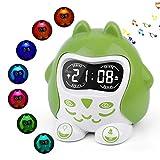 Kinder Schlafzimmer Wecker, Baby Schlaftherapie & 9 Schlaflieder, 7-Nachtlicht wechseln, Dimmer, Weck/Sleep-Timer, Auto-Off-Timer, Snooze, Einstellbare Lautstärke, 12/24H, Batterie/Ausgang betrieben