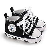 DEBAIJIA Lauflernschuhe Baby Segeltuchschuhe 0-6M Kinder Turnschuhe Jungen Leichtes Leinen Schuhe Mädchen Weiche Sohle 17 EU Schwarz (Etikettengröße 1)