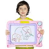 Automoness Magnetische Maltafel für Kinder, Reisegröße Magnettafel Zaubertafel Zaubermaltafel Zeichentafel Zeichenbrett mit 3 Magnetische Stempel und Magnetschreibstift Kindergeschenk