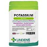 Lindens Kalium 200mg Tabletten   100 Verpackung   Mit 50 mg Vitamin C pro Tablette. Fördert normale Blutdruckwerte und unterstützt Muskelfunktion und Nervensystem