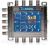 Anadol Quadline Multischalter 5/8 für 8 Teilnehmer - digitaler Multischalter für Satellit mit Quad oder Quattro LNB kombinierbar - Eco Sat-Verteiler für HDTV - 4K -UHD - Multiswitch 5-8