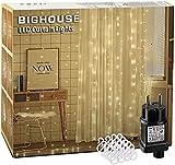 LED Lichtervorhang, BIGHOUSE 3m x 3m 306 LED Sterne Lichterkette mit 8 Modi, Speicherfunktion, Wasserdichte IP44 für Weihnachten, Partydekoration, Innen/Außen Dekoration, Warmweiß