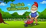 Fanshop Lünen Fahne - Flagge - Zwerg - Herzlich Willkommen - (Gartenzwerg) - Garten - Blumen - 90x150 cm - Hissfahne mit Ösen -