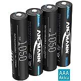 ANSMANN Akku AAA 1050mAh NiMH 1,2V - Micro AAA Batterien wiederaufladbar, hohe Kapazität ideal für hohen Strombedarf wie ferngesteuerte Fahrzeuge, Mikrofon, Elektronische Instrumente (4 Stück)